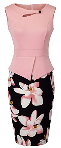 HOMEYEE Women's Elegant Chic Bodycon Formal Dress B288 (M, Light Pink) by HOMEYEE