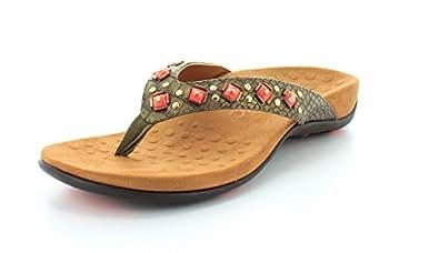 Vionic Floriana Womens Thong Sandals Bronze Croco - 5 Medium