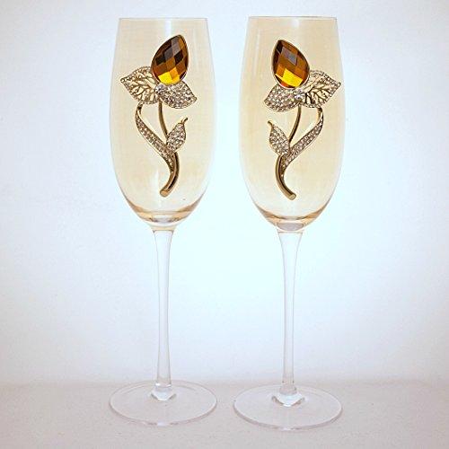 Golden Glass Champagne Flutes, Orange Citrine November Topaz Birthstone Flower Bud with White Crystal Rhinestone Leaves (Set of 2) (Citrine Topaz Rhinestone)