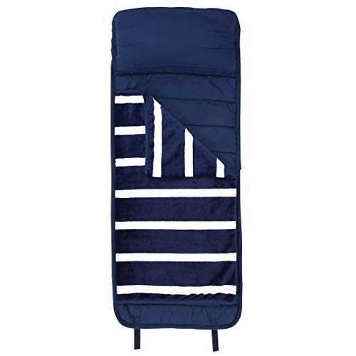 WB Nap Mat Navy Blue Stripe 47 x 18 Polyester Plush Fabric Slumber Sleeping Bag