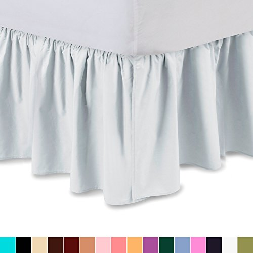 Bedskirt Dust Ruffle (Ruffled Bed Skirt (Twin XL, White) 14 Inch Drop Dust Ruffle with Platform, Wrinkle and Fade Resistant - by Harmony Lane (Available in all bed sizes and 16 colors))