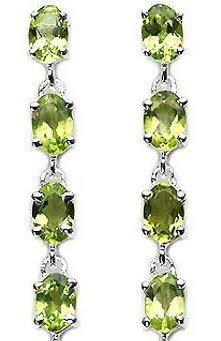 Bijoux Schmidt-Boucles d'oreilles Péridot avec 8-925 argent rhodié-3, 40 carats