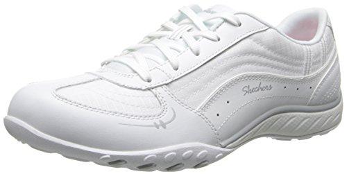 Skechers Sport Women's Just Relax Fashion Sneaker, White Leather/Mesh/Silver Trim, 9 M US