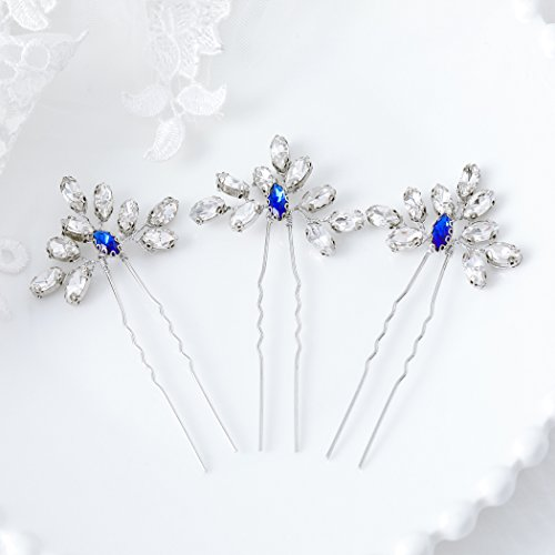 Artio Wedding Hair Pins Accessories with Rhinestones for Women and Girls 3PCS (Blue)