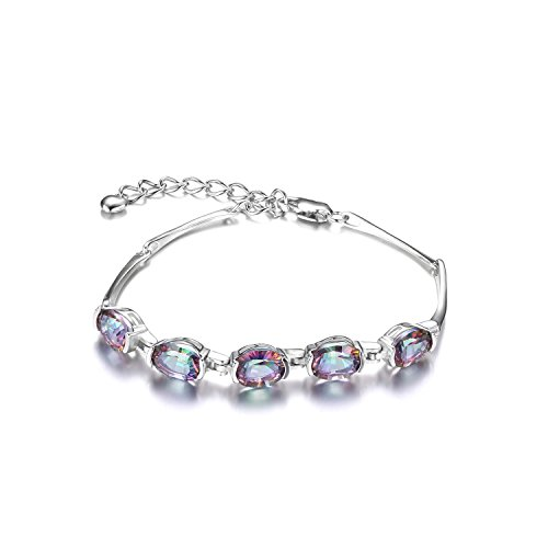 Jewelrypalace Mystic Rainbow Topaz Adjustable Tennis Bracelet 925 Sterling Silver