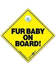 """Znak samochodowy """"Fur Baby On Board"""", znak dla psa z napisem """"Baby on Board"""", żółta i czarna przyssawka znak na okno samochodu zaprojektowany, aby umożliwić innym użytkownikom dróg jest psa w samochodzie, 14 cm x 14 cm x 2 cm"""