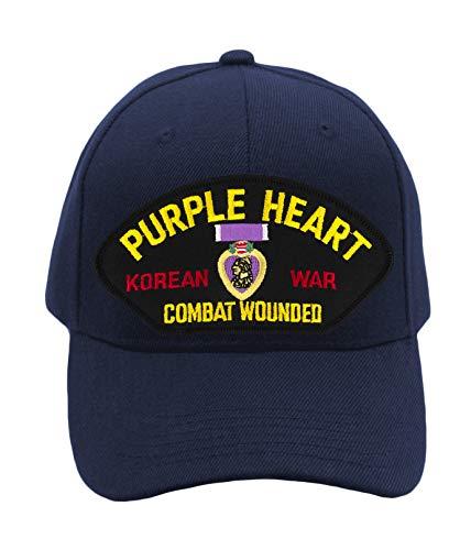 Patchtown Purple Heart - Korean War Veteran Hat/Ballcap Adjustable-Back One Size Fits Most (Navy Blue, Standard (No Flag))