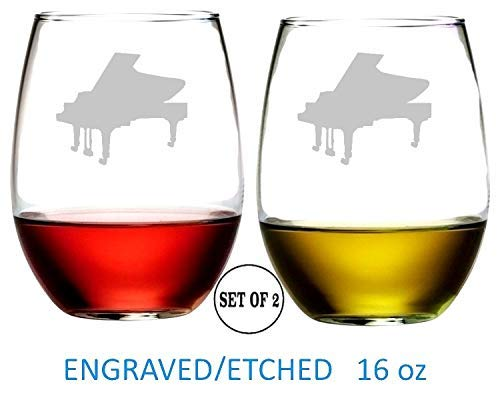Piano Stemless Wine Glasses Etched Engraved Perfect Fun Handmade Gifts for Everyone Dishwasher Safe Set of 2 ()