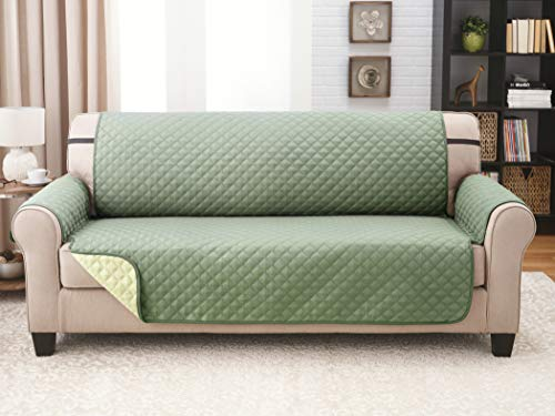 Couch Guard XL Sofa Cover, Slipcover, Furniture Protector. Shield & Protects from Dogs, Cats, Pets, Kids, Stains. Reversible, Quilted with Elastic Strap. Easy Wash & Dry. Olive & Sage (Olive Leather Sofa Green)