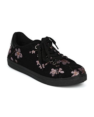 Alrisco Dames Geborduurde Kersenbloesem Lage Top Veters Sneaker - Hg71 Door Betani Collection Zwart / Roze Mix Media