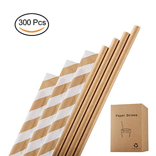 Brown Paper Straws,300 Pack Individually Wrapped,Plasticless,100% Biodegradable,Food-Safe 7 3/4 inches Dye-Free Paper Straws by Hipoco