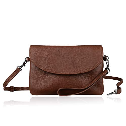 Befen Full Grain Leather Wristlet Clutch Crossbody Phone Wallet, Mini Cross Body Purse with Shoulder Strap/Wrist Strap/Card Slots - Brown ()