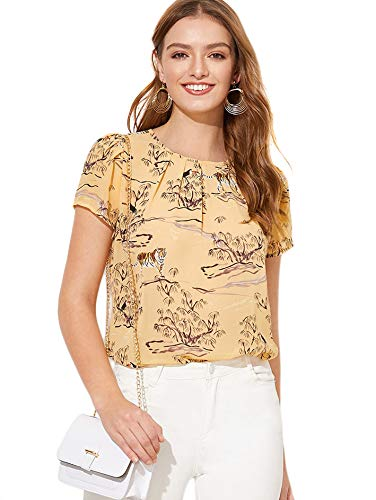 - Milumia Women's Summer Animal Print Pleated Work Keyhole Blouse Top