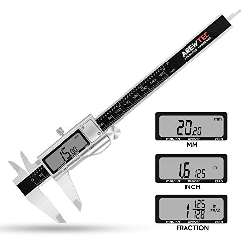 - AREWTEC Electronic Digital Caliper 6 Inch/150mm Stainless Steel, DCN15A Polished Frosted Hardened Inch/Fractions/Metric Accurate Conversion Measurement, LCD Vernier Caliper Black