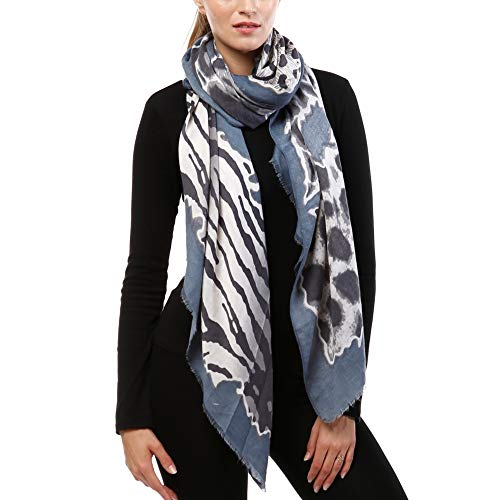 by you Women Classic Leopard Zebra Animal Print Lightweight Viscose Oblong Scarf for Women (Navy)