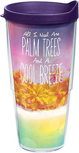 Tervis 1216328 Palm Tree Cool Breeze Tumbler with Wrap and Royal Purple Lid 24oz, Clear (Tumbler Tree)