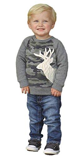 Mud Pie Boys Little Deer Camo Sweatshirt with Stag Deer Applique, 4T/5T