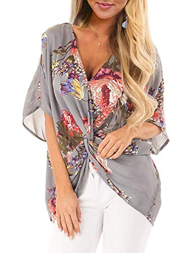 Womens Floral Blouses Short Sleeve Chiffon Twist Tops V Neck Casual Loose Shirts Grey