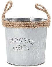 SimpleLife Vaso Shabby Vintage in Vaso di Metallo con fioriera in Ferro zincato Decorato a Fiori