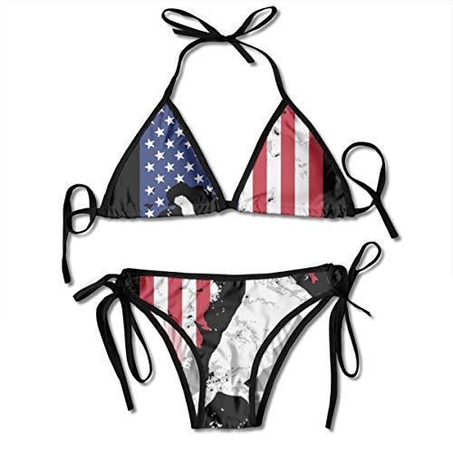 NMG-04 American Flag USA Soccer Player Women's Sexy Triangle Beachwear Swimwear Thong Bikini Sets Black