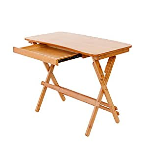 ZHI BEI Small Wooden Folding Desk - with Adjustable Height - Wooden Legs Portable Strong Foldable - Square Computer Study Table - for Living Room Bedroom |