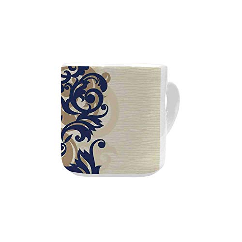 Kitchen Decor White Heart Shaped Mug,Classical Baroque Vintage Design Print Victorian Style Brush Kitchenware Oriental for Home,2.56