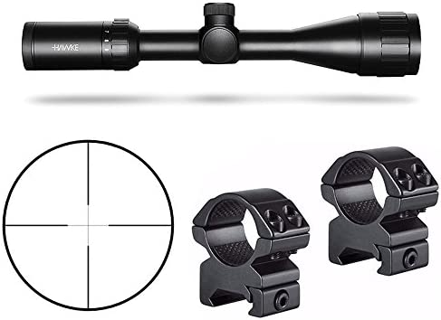 Hawke Sport Optics Vantage HD 3-9X40AO 30 30 Riflescope, Black and Hawke 2-Pc Medium Weaver Rings Kit