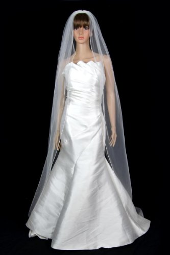 Bridal Wedding Veil Diamond (Off) White 1 Tier Long Chapel Length Pencil ()