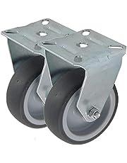 2 stk bokwielen als apparaatwielen wiel van rubber grijs 50 mm bevestiging gat plaat als bokwielen transportwiel (50 mm)