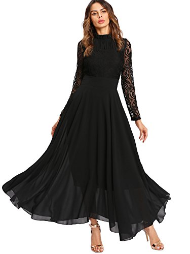 Milumia Women's Vintage Floral Lace Long Sleeve Ruched Neck Flowy Long Dress Black L