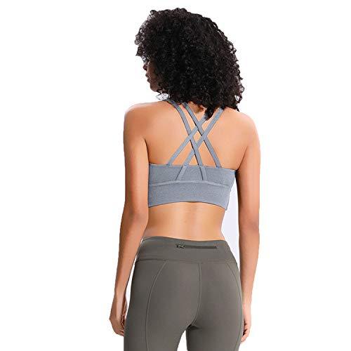 Crisscross Straps Bras Women Push Up Shockproof Fitness Crop Tops Mid Support Workout,Light Heather Grey,M