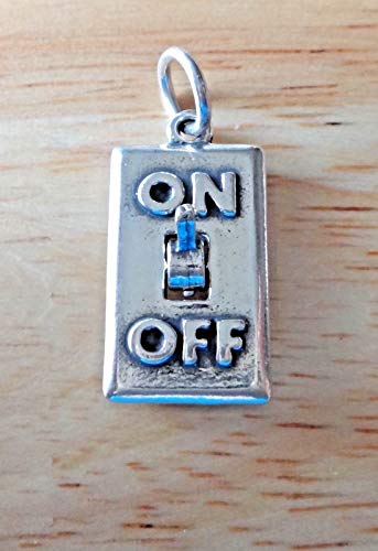 Sterling Silver 3D Movable 21x10mm says On Off Light Switch ()