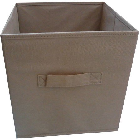 Multi Functional ,Durable Mainstays Collapsible Fabric Storage Cube, Set of 2 , Multiple Colors (10.5'' x 10.5''), Brown Stone by Mainstays