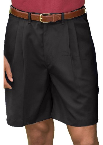 (Edwards Garment Men's Pleated Front Soft Touch Shorts_BLACK_38)