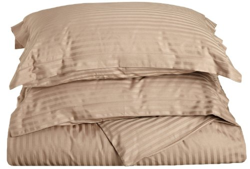 (Combed Cotton 300 Thread Count Twin 2-Piece Duvet Cover Set Stripe, Taupe)