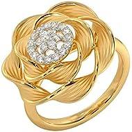 Dainzuy Women Jewelry Gift Ladies Metal Microinlaid Zircon Flower Band Ring Statement Flower Halo Engagement Ring