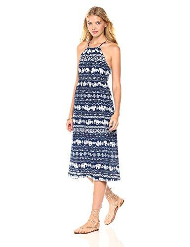 Peace Love Maxi Women's Summer Elephant Printed Midi-Length Dress Blue X-Large