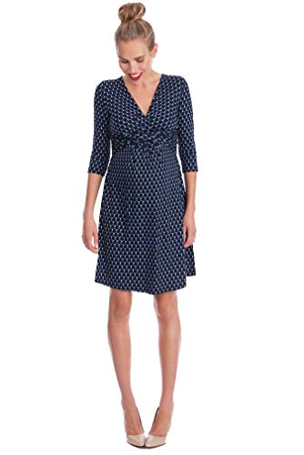 Seraphine Kelly Faux Wrap Maternity Nursing Dress - Navy Bubble Print - 8