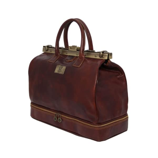 Tuscany Leather Barcellona - Double-bottom Gladstone Leather Bag Brown - luggage