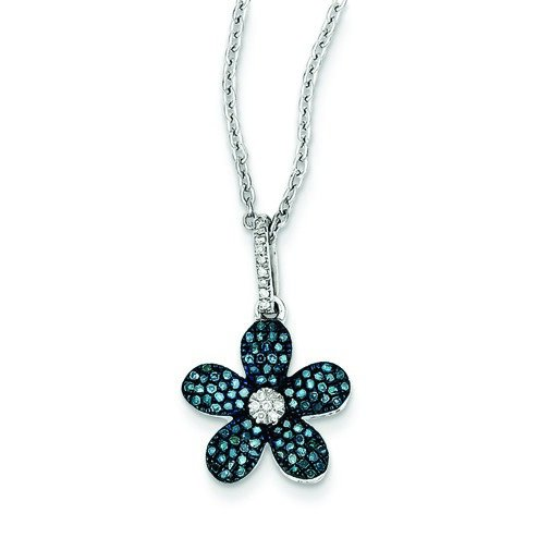 Argent Sterling diamant bleu blanc fleur pendentif-Rough JewelryWeb