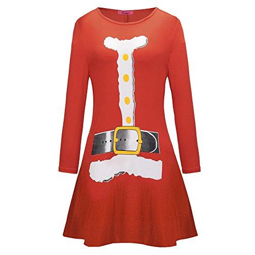 iYBUIA Women Christmas Deer Printed Letter Dress Ladies