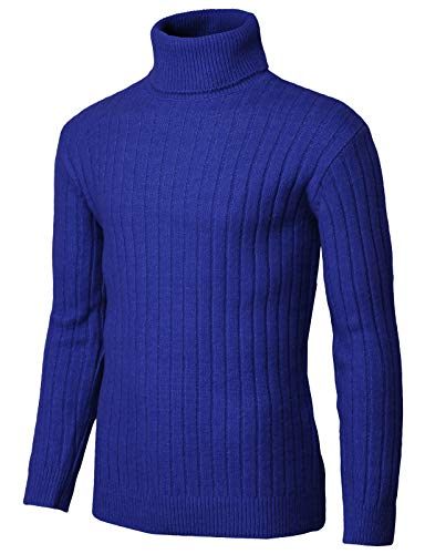 H2H Mens Slim Fit Turtleneck Pullover Wool Sweaters Basic Ribbed Thermal Blue US L/Asia L (KMOSWL251)