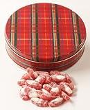 Scott's Cakes Sour Gummi Santas in a Large Plaid Tin
