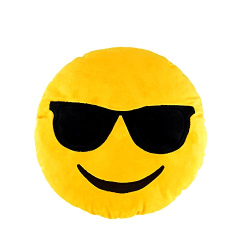 Sealive Funny Emoji Emoticon Cushion Yellow Round Cushion Smiley Face Pillow Stuffed Plush Toy Soft Doll Emoji Soft Stuffed Pillow for Bedroom, Office, Home Furniture,Living Room Decoration ()