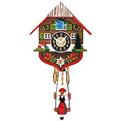 Miniature Quartz Swinging Doll Cuckoo Clock, 5 Inch