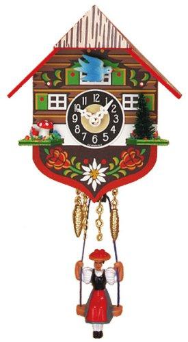 Miniature Quartz Swinging Doll Cuckoo Clock, 5 Inch