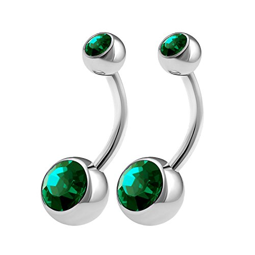 Emerald Belly Button Ring - 8
