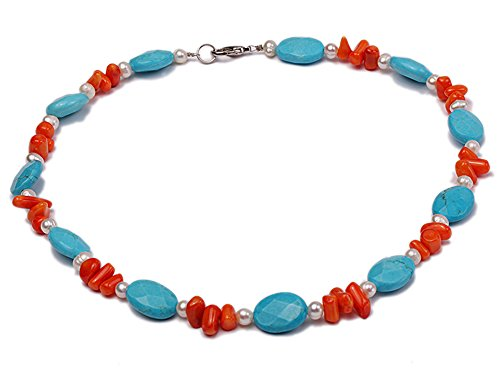 JYX Natural White Freshwater Pearl Necklace Oval Blue Turquoise and Coral Necklace (White Pearl Red Coral Necklace)