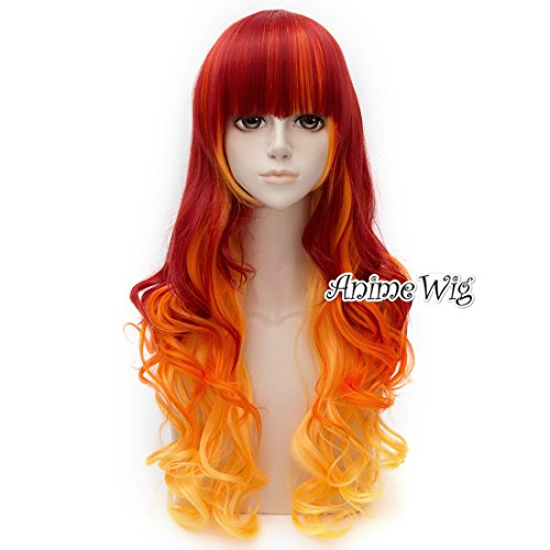 75CM Long Curly Lolita Red Mixed Orange Halloween Cosplay...