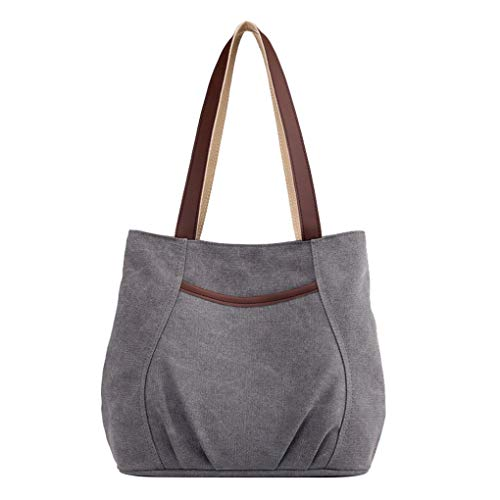 Lonson Women's Canvas Shoulder Bag Small Handbag Tote Purses Gray One Size ()